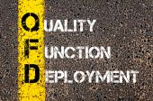 Business Acronym QFD as QUALITY FUNCTION DEPLOYMENT — Stock Photo