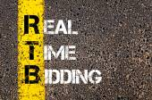 Business Acronym RTB as REAL TIME BIDDING — Stock Photo