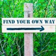 FIND YOUR OWN WAY Directional sign — Stock Photo #73907495