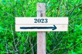 YEAR 2023  Directional sign — Stock Photo