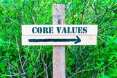 CORE VALUES Directional sign — Stock Photo
