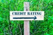 Sinal de notação de crédito direcional — Fotografia Stock