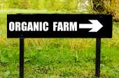 ORGANIC FARM written on directional black metal sign — Stock Photo