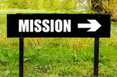 MISSION written on directional black metal sign — Stock Photo
