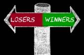 Opposite arrows with Losers versus Winners — Stock Photo