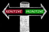 Tegenover pijlen met reactief versus proactief — Stockfoto