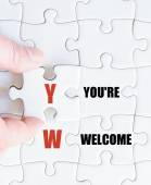 Laatste puzzel stukje met Business acroniem Yw — Stockfoto