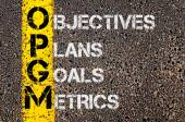 Business Acronym OPGM as Objectives Plans Goals Metrics — Stock Photo