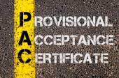 Business Acronym PAC as Provisional Acceptance Certificate — Stock Photo