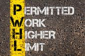 Business Acronym PWHL as Permitted Work Higher Limit — Stock Photo