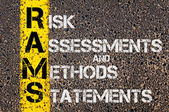 Business Acronym RAMS as Risk Assessments and Methods Statements — Stock Photo