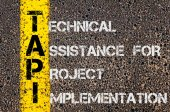 Business Acronym TAPI as Technical Assistance For Project Implementation — Stock Photo