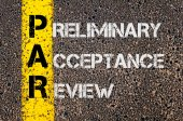 Business acronimo Par come accettazione preliminare recensione — Foto Stock
