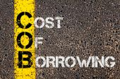 Business Acronym COB as Cost Of Borrowing — Stock Photo