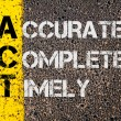 Постер, плакат: Business Acronym ACT as Accurate Complete Timely