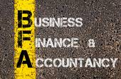 Business Acronym BFA as Business Finance and Accountancy — Fotografia Stock