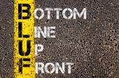 Business Acronym BLUF as Bottom Line Up Front — Stock Photo