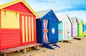 Badning lådor på Brighton Beach, Australien — Stockfoto