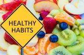 Yellow roadsign with message HEALTHY HABITS — Stock Photo
