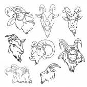 Set of goat heads — Stock Vector