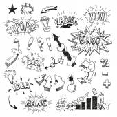 Set comic book explosion hand drawn — Stockvector