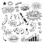 Set comic book explosion hand drawn — Vector de stock