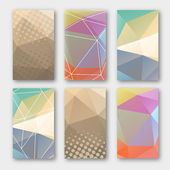 Set of brochure design templates. Geometric triangular abstract  backgrounds. Mobile technologies, applications and online services concept, vector illustration — Stock Vector