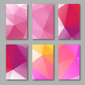 Set of brochure design templates. Geometric triangular abstract  backgrounds. Mobile technologies, applications and online services concept, vector illustration — Vetor de Stock