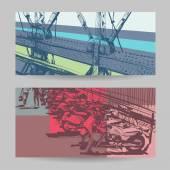 Set of city banner design elements, vector illustration — ストックベクタ