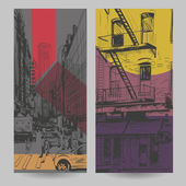 Set of city banner design elements, vector illustration — Stock Vector