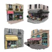 Set of Paris outdoor cafe, vector illustration — Stock Vector
