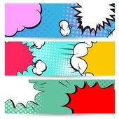 Set of comics boom backgrounds, vector illustration — Stock Vector