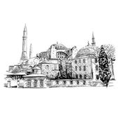 Mosque hand drawn. Unusual perspective Vector illustration — Stock Vector