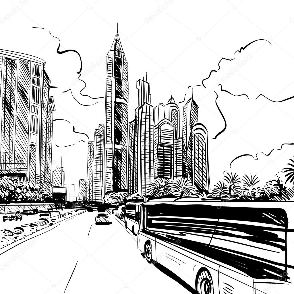 City hand drawn. Street sketch vector illustration — Stock ...