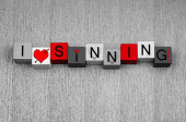 I Love Sinning, sign for fun,  lust, love, Valentines. — Foto de Stock