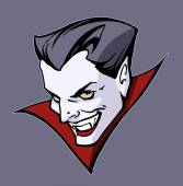 Dracula character head — Stock Vector