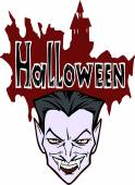 Halloween title with Dracula — Stock Vector