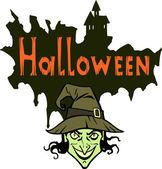 Halloween title and witch — Stock Vector