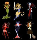 Personajes de dibujos animados de halloween — Vector de stock