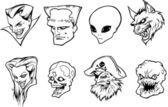 Halloween character heads — Stock Vector