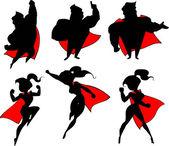 Superhero silhouette collection — Stock Vector
