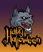 Halloween card  with werewolf — Stock Vector