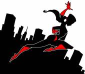 Super hero girl silhouette — Stock Vector