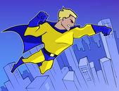 Superhero  flying in the city — Stock Vector