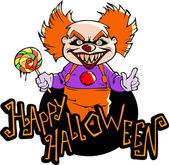 Clown with halloween title — Stock Vector
