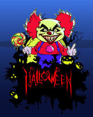 Halloween  scary clown — Stock vektor