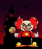 Scary red-haired clown — Stock vektor