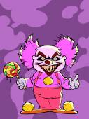 Violet cartoon scary clown — Stock vektor