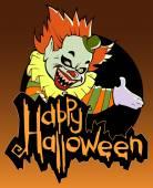 Halloween card  with evil clown — Stock Vector