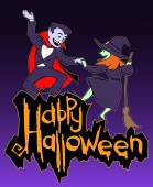Halloween card  with witch and vampire — Vector de stock